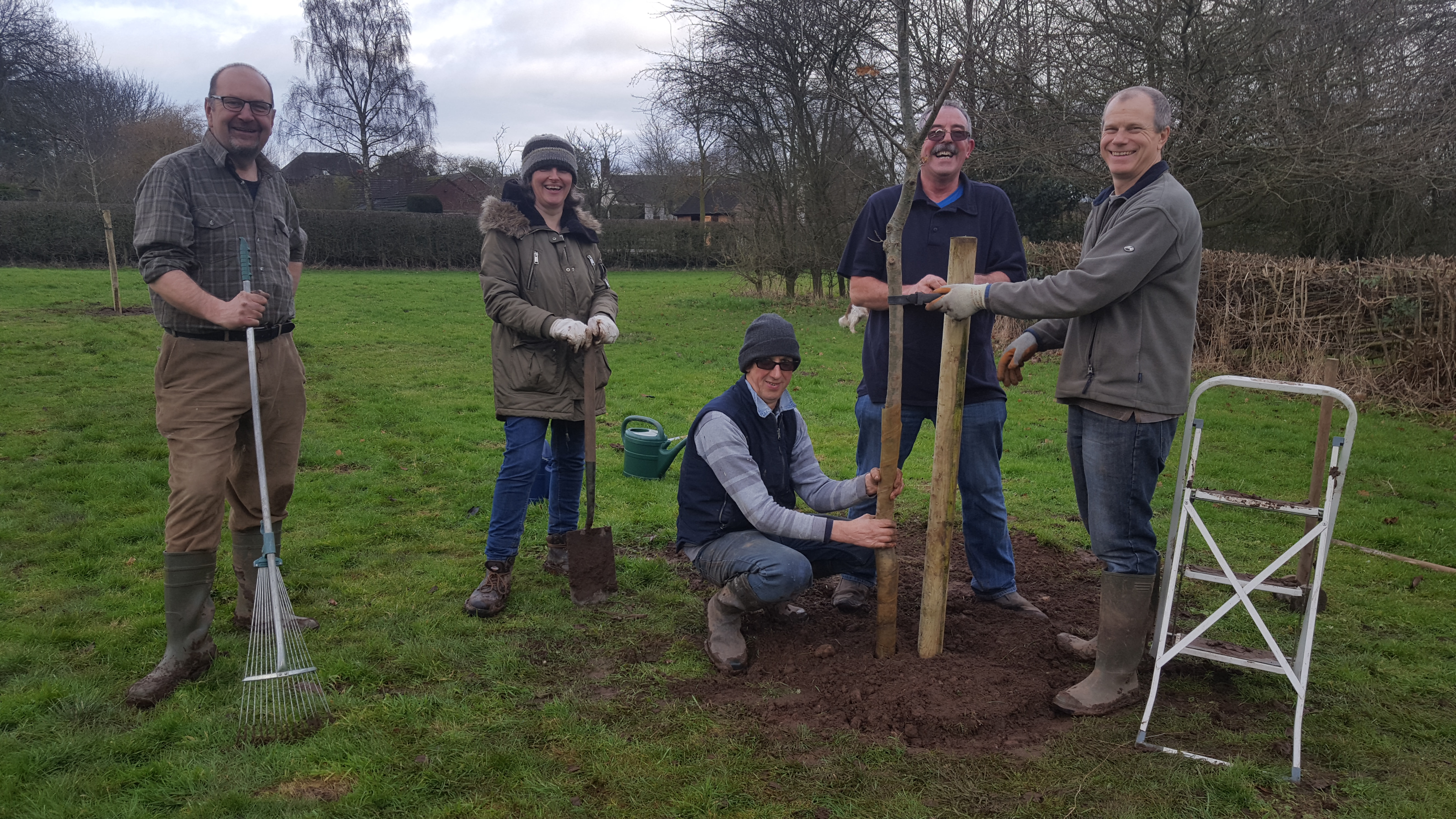 The Tree Project is completed with 9 oaks being planted in the Church Field